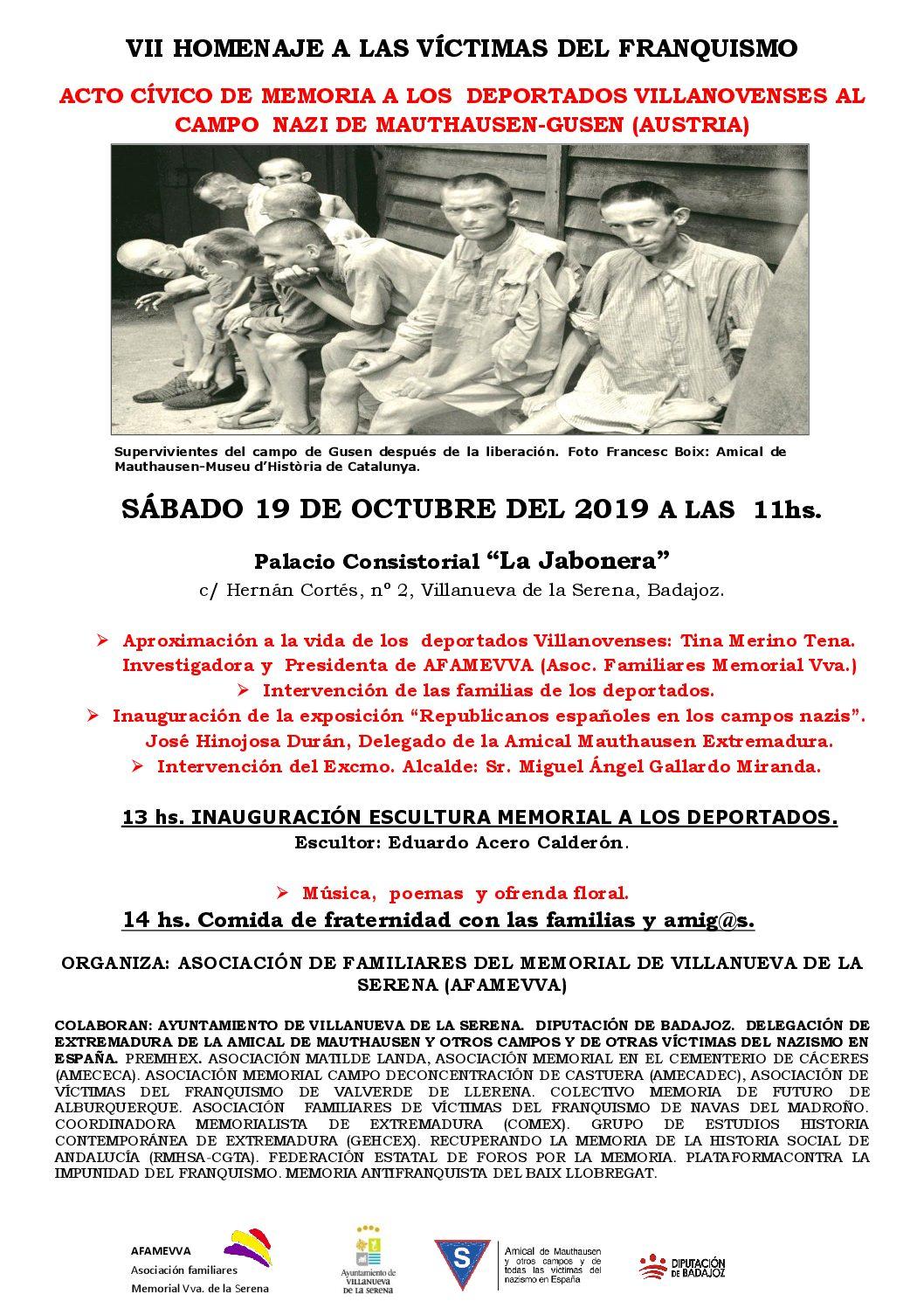 AFAMEVVA organiza un acto de Homenaje e Inauguración de Escultura a los deportados villanovenses al campo nazi de Mauthausen el sábado 19 de octubre en Villanueva de la Serena
