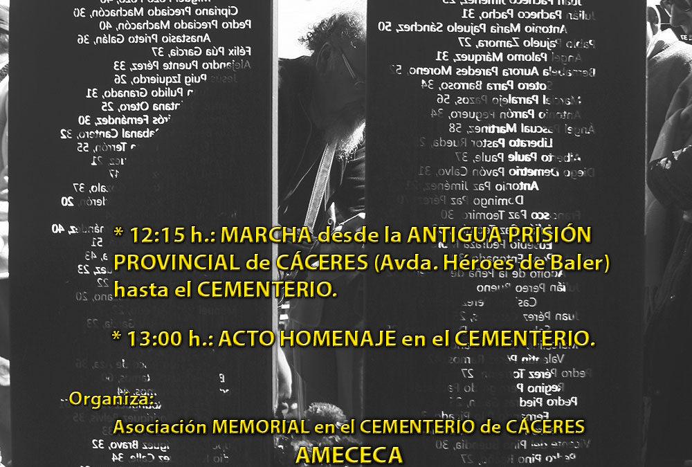 AMECECA ha acordado suspender la VIII Jornada-Homenaje a todas las víctimas y personas represaliadas por el Franquismo en la ciudad de Cáceres que iba a tener lugar el sábado 14 de marzo en Cáceres
