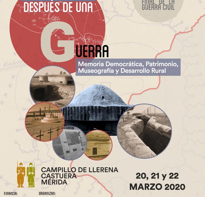 El Congreso «Patrimonio después de una guerra. 1939-2019» será los días 20, 21 y 22 de marzo en Mérida, Campillo de Llerena y Castuera.